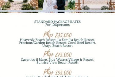 Beach wedding package for 2021  Standard Package good for 100pax  Church Prep...