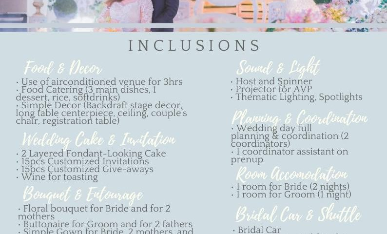 Intimate simple wedding good for 25pax  P100k all in for function hall add 15k f...