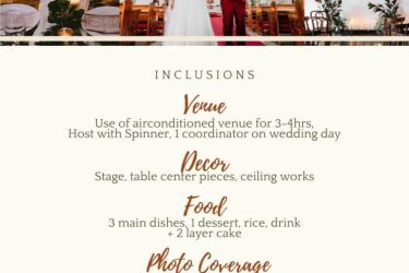 Nice Simple wedding package for 25pax  Venue  Decor  Food  Host spinner  1 coor ...
