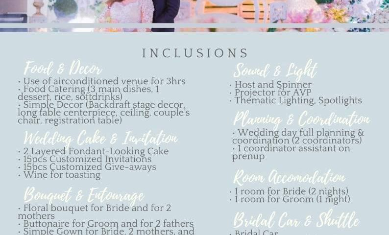 For intimate all in simple wedding package  Promo free Lechon good for 25-30pax ...