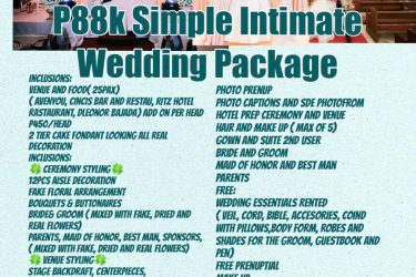 2020-2021   Intimate Wedding Package Good for 25pax   Avail our Promo For this P...