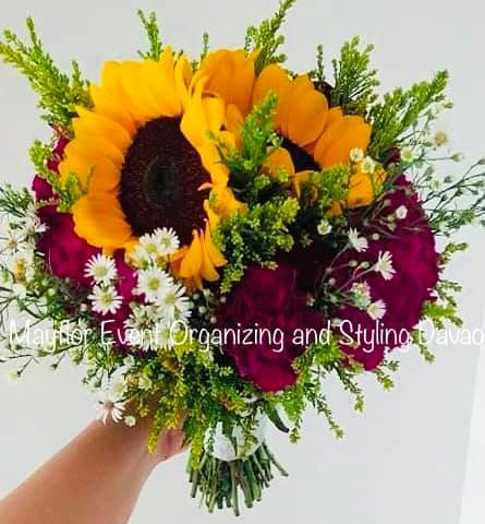 """Sunny Sunflower Bridal Bouquet  """"Yellow floral bouquet will help our bride light..."""